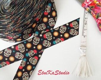 Sugar Skull, Day of the Dead, Mexican fun print 25 mm black Grosgrain Ribbon