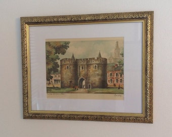 Original Etching, Vintage Mezzotint Print by Barday, Cambrai La Porte Ai Paris, Gallery Framed Original Art, Valhalla Fine Arts