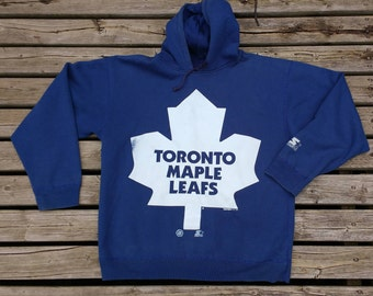 Vintage 90's 1994 Toronto Maple Leafs Starter Hooded Sweatshirt Giant Maple Leaf Logo Large Sized Made in Canada