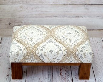Pouf ottoman - beige pattern upholstered ottoman - rustic foot stool - beige footstool - small ottoman - square ottoman - beige living room