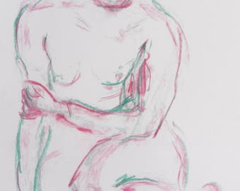 Original drawing from pastel female nude in the Studio, white paper A2, signed, nude body drawing