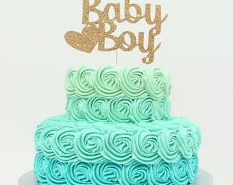 Baby Boy Cake Topper for Baby Shower, Gender Reveal Party, Birthday Party - Gold Glitter Cupcake and Cake Topper, Newborn Little One