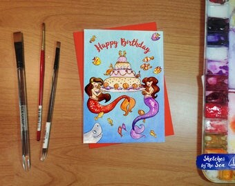Mermaid Happy Birthday Card. Watercolored Whimsy on a Handcrafted Card