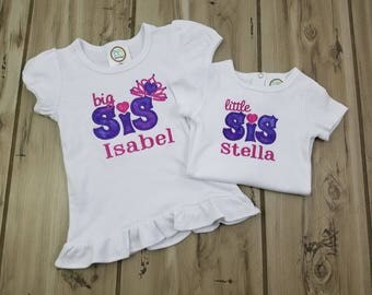 Big Sis Little Sis ~ Personalized Crown Sibling Outfits Girls ~ Big Sister Little Sister Matching Sister Outfit ~ Embroidered Crown Bodysuit