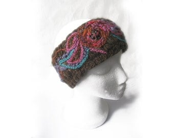 Knitted Headband, Knitted Ear Warmer, Knitted Head Wrap, Embroidered Headband, Embroidery Headbands