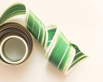 "Waterproof Leaf Ribbon, 5+ YARDS, Wedding decor, Centerpiece liner, DIY bouquet wrap ribbon, Ti Leaf, Variegated green aspidistra - 2"" wide"
