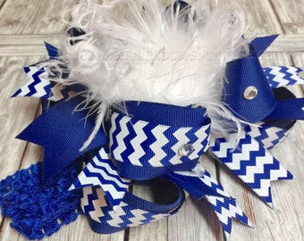 Royal Blue and White School Uniform Over the Top Hair Bow,Royal Blue Hair Bow,Royal Blue Baby Headband,Over the top Bows,Boutique Hairbows
