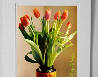 Tulips and cafe du Monde New Orleans, downloadable photo of yellow and orange tulips rintable 8x10 file, ready to print and hang.