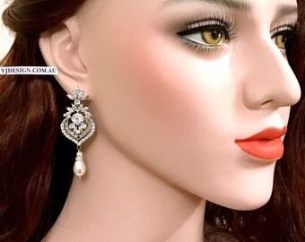 Chandelier Bridal Earrings, Pearl Drop Earrings, Cz Dangle Wedding Earrings, Teardrop Wedding Jewelry, Statement Bridal Jewelry, ELLA