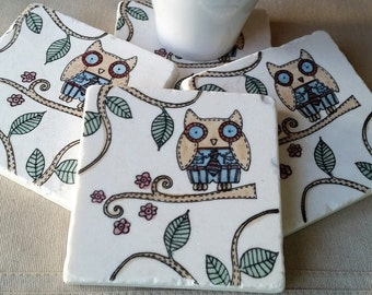 Owl Home Decor - Absorbent Tile Coasters - Father's Day Gift - Oscar the Owl Design