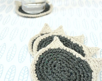 Cat Face Coaster - Set of 4 - Recycled Blue Cotton Yarn - Crochet - stone wash blue