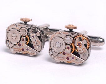 Steampunk Vintage Zodiac Watch Movement Cuff Links