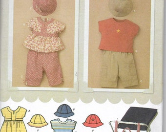 Uncut, Baby 7-24 lbs, Sewing Pattern, Easy to Sew, Simplicity 3765, Toddler Boy Girl Dress, Pants, Hat, Top, Stroller Bag, Infant, Newborn,