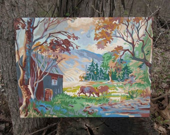 Vintage Paint by Number Farm Cows Barn Mountain Mid Century PBN Unframed Painting