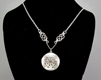 Women's Essential Oil Aromatherapy Diffuser Necklace with Celtic Knots, Necklace with Silver Diffuser Locket, Aromatherapy Jewelry