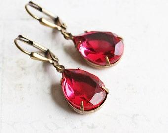 Dark Rose Pink Rhinestone Teardrop Dangle Earrings with Antiqued Brass Hooks (Leverback or Fishhook)