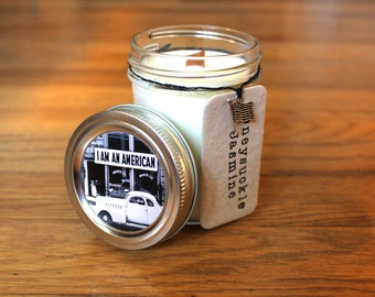 Honeysuckle Jasmine Woodwick Candle - Plantable Tag - 8 oz. Soy Candle - Wildflower Seed Tag - American Flag - Americana Decor