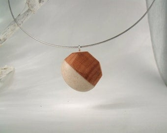 SEMICIRCULAR - Hand Carved Wood Stone Necklace - Wooden Necklace - Natural Necklace - Boho - Sculptural - Wood/Stone Pendant - Free Shipping