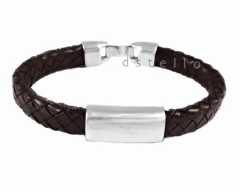Custom mens leather bracelet - Men's bracelet - Braided leather - First quality Spanish leather with antique silver tube -  Gift for him