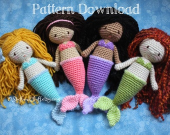 PATTERN- Mermaid Doll PDF Crochet Pattern, amigurumi mermaid, crochet stuffed animal, digital download