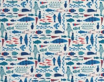 Hokkoh Tahti Japanese fabric - fish in oxford cotton - 1/2 YD