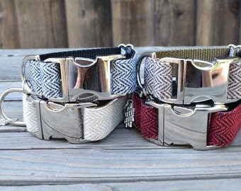 Black and White Tweed Herringbone Dog Collar - Modern Unisex Winter Dog Collar with Metal Hardware