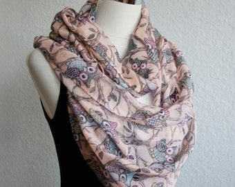 Pinkish Owl Infinity Scarf Owl Scarf Animal Scarf scarf owl print scarves beach cover up loop scarf gifts mothers day gift animals bird cozy