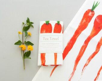 Carrot Tea towel, farm house garden watercolor art print, original painting,  kitchen linens, dish towel, housewarming gift, shower gift,