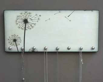 JEWELRY HANGER or Key Holder / Dandelion Wood Mounted Art w/ Hooks for Jewelry or as a Key Hanger. PERSONALIZE Your Own- Your image or Idea!