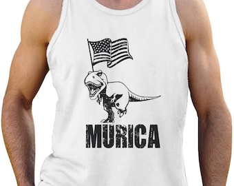 T-Rex Murica Flag - 4th of July America Patriot - Men's Tank Top Singlet Sleeveless