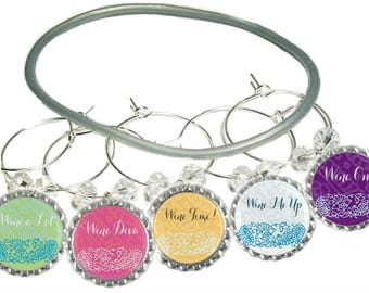 Wine Charms, Wine Charm Party Favors,  Glass Markers, Glass Labels, Glass Charms, Glass Labels, Wine Glass Charms, Wine Gifts, Pack Of 5