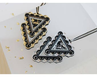 Zigzag Triangle Statement Pendant Necklace - Acrylic, Gold Silver Leaf Resin, Laser Cut and Engraved Perspex - Long Geometric Pendant