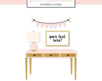 Pretty Desk Clipart, Desk Illustration, Desk Art, Desk Clipart, Desk Clip Art