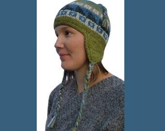 Winter Hat. Pure Wool / Hemp Earflap Hat. Adult Wool / Hemp Hat. Hand Knit Winter Hat. Ski Hat. Fairtrade. Thermal Fleece Lined. Fairtrade.