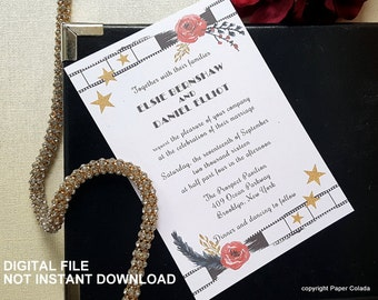 Printable Old Hollywood party invitation, Movie theme party invitation, Film Reel Invitation,  Hollywood theme party invitation