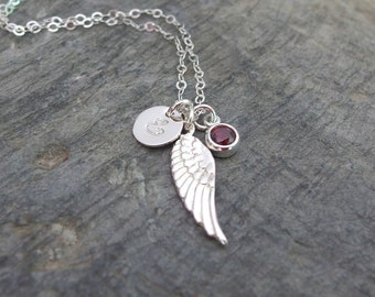 Remembrance jewelry Memorial gift Personalized Wing necklace Sympathy necklace Angel Wing Necklace Memorial necklace Silver Angel wings