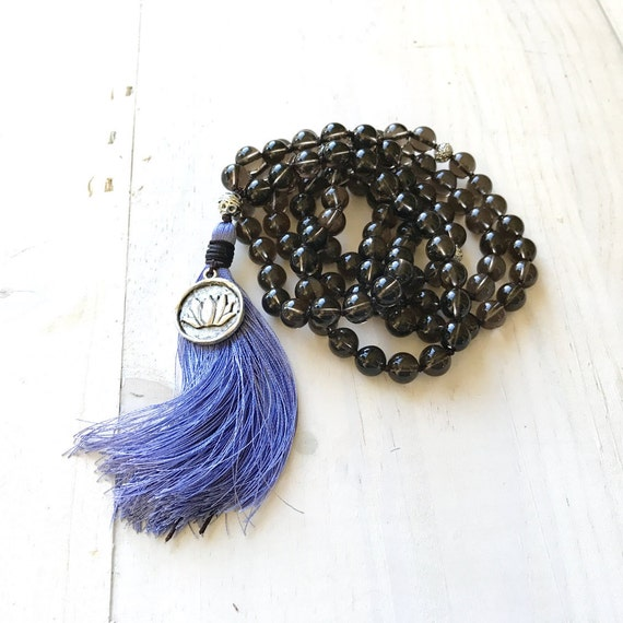 Smoky Quartz Mala Necklace, Mala Beads For Inner Strength,  Flower Charm, Hand Knotted Mala, 108 Bead Gemstone Mala, Yoga Meditation