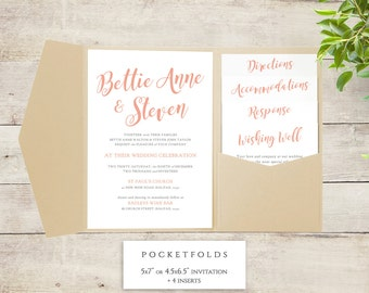 Pocket Wedding Invitation template set, printable pocket invitations, Bettie, any colour, any headings | DIY Editable printable template
