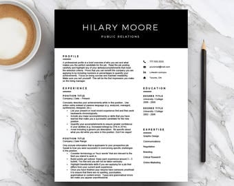 Modern Resume Template for Word & Pages (1, 2 and 3 Page Resume, Cover Letter, Icon Set) Professional CV Template | Black | Instant Download