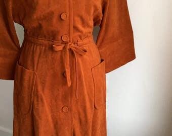Vintage Burnt Orange Velvet Dress/Nancy B of California/Bohemian/Festival