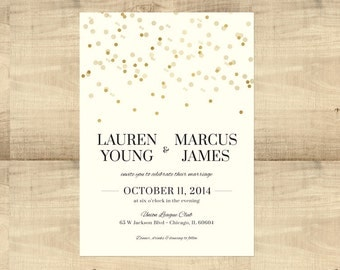 Gold Confetti Wedding invitation suite, SAMPLE ONLY