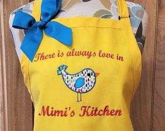 Personalized Apron Mimi's Kitchen Apron Grandma Nana Blue Bird Apron Birdie Apron