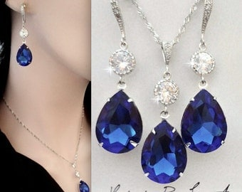 Blue sapphire crystal earrings, Swarovski crystals, Teardrops, Wedding jewelry, Sterling silver wires and chain~ Something blue,Gift~ SOPHIA