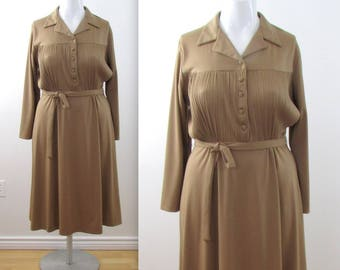 70s Circle Skirt Jersey Shirt Dress - Vintage 1970s Jersey Dress in Taupe - New With Tags in Large by Missy First