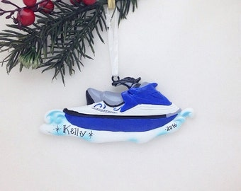 FREE SHIPPING Jet Ski Ornament / Personalized Christmas Ornament / Boat Ornament / Travel Ornament / Water Lover Ornament