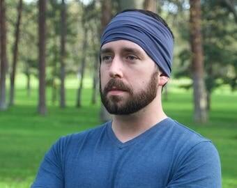 Extra Wide Headband, Adult Head Wrap, Yoga Hair Band, Cotton Headband, Lavender Dark Gray