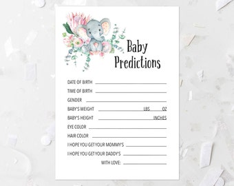 Elephant Baby Predictions Game Printable Elephant Baby Shower Game Jungle Baby Shower Activity Guessing Game Pink Floral Baby Shower 268