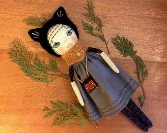 cat doll cat toy black cat doll fairytale gift cat animal plush cat heirloom doll soft cat toy cat lover gift cat girl textile art cat lady