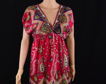 90's Angies Boho Paisley V-Neck  Mini Dress / Size Small