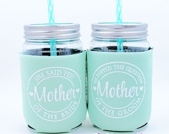 Mother of the Bride, Mother of the Groom, Weddings, Cups, Mint, He Popped the Question, She said Yes, Plastic Mason Jar Cup with Lid